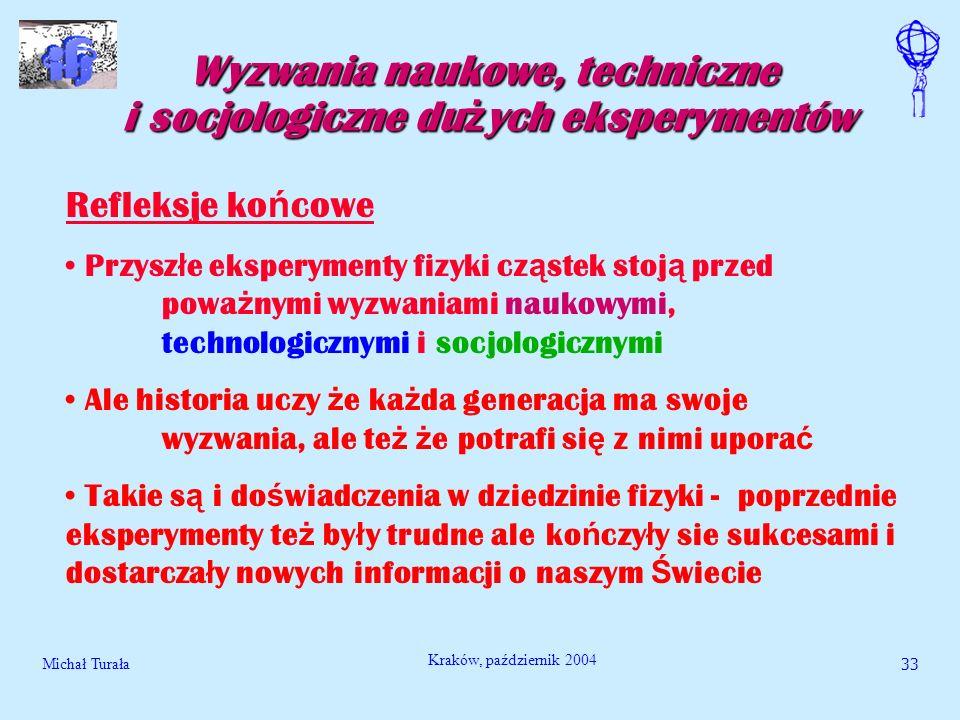 Michał Turała33 Kraków, październik 2004 Wyzwania naukowe, techniczne i socjologiczne du ż ych eksperymentów Refleksje ko ń cowe Przysz ł e eksperymen