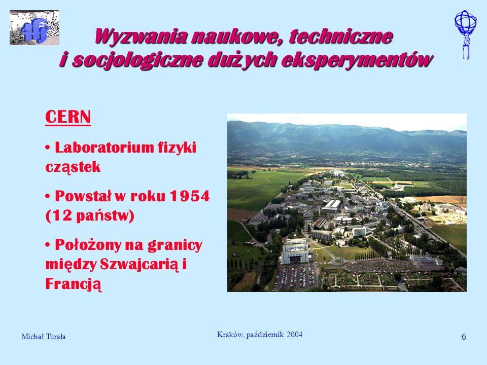 Michał Turała6 Kraków, październik 2004 Wyzwania naukowe, techniczne i socjologiczne du ż ych eksperymentów CERN Laboratorium fizyki cz ą stek Powsta
