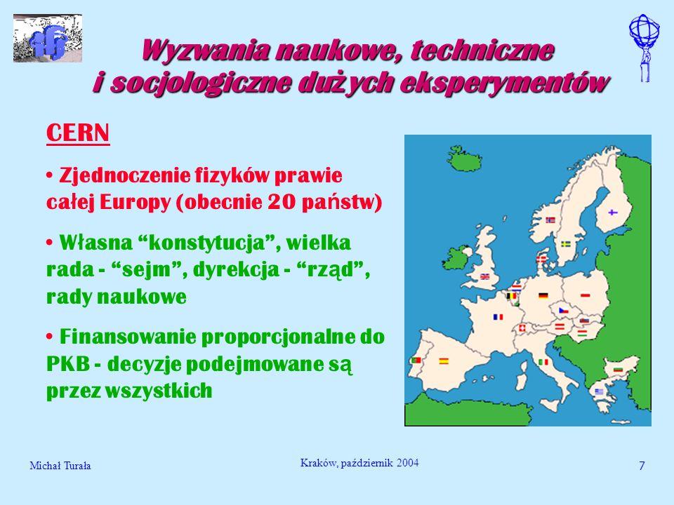 Michał Turała7 Kraków, październik 2004 Wyzwania naukowe, techniczne i socjologiczne du ż ych eksperymentów CERN Zjednoczenie fizyków prawie ca ł ej E