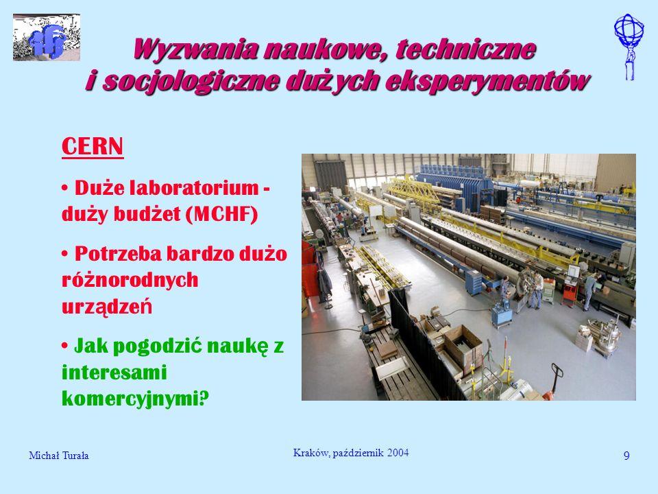 Michał Turała9 Kraków, październik 2004 Wyzwania naukowe, techniczne i socjologiczne du ż ych eksperymentów CERN Du ż e laboratorium - du ż y bud ż et