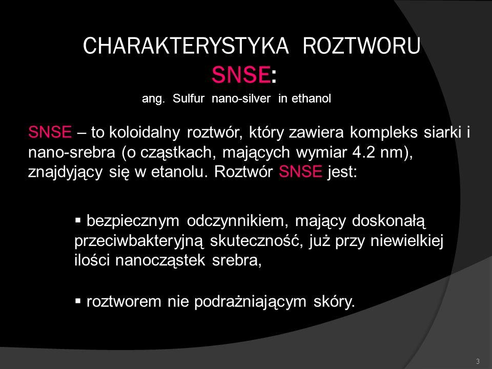 3 CHARAKTERYSTYKA ROZTWORU SNSE: ang. Sulfur nano-silver in ethanol SNSE – to koloidalny roztwór, który zawiera kompleks siarki i nano-srebra (o cząst