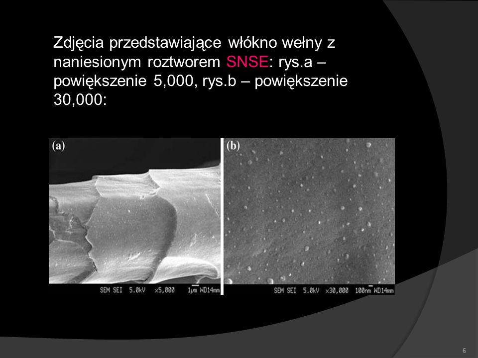 6 Zdjęcia przedstawiające włókno wełny z naniesionym roztworem SNSE: rys.a – powiększenie 5,000, rys.b – powiększenie 30,000: