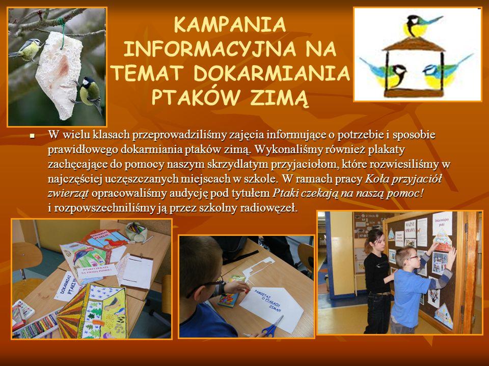 KAMPANIA INFORMACYJNA NA TEMAT DOKARMIANIA PTAKÓW ZIMĄ W wielu klasach przeprowadziliśmy zajęcia informujące o potrzebie i sposobie prawidłowego dokar