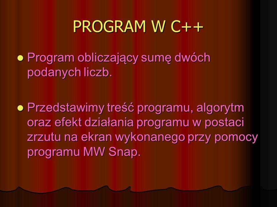 PROGRAM W C++ Program obliczający sumę dwóch podanych liczb. Program obliczający sumę dwóch podanych liczb. Przedstawimy treść programu, algorytm oraz