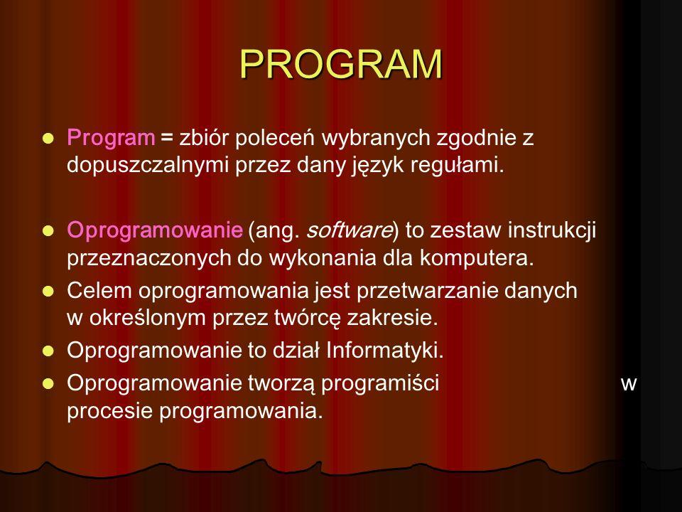 PROGRAM Program = zbiór poleceń wybranych zgodnie z dopuszczalnymi przez dany język regułami. Oprogramowanie (ang. software) to zestaw instrukcji prze