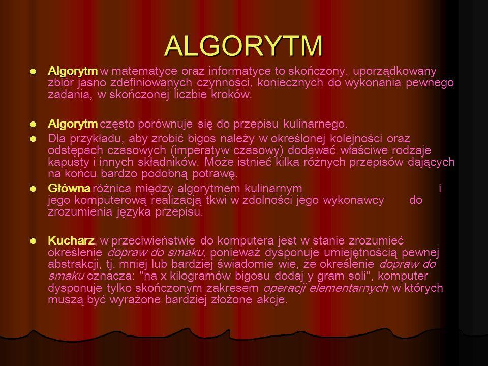 ALGORYTM Algorytm Algorytm w matematyce oraz informatyce to skończony, uporządkowany zbiór jasno zdefiniowanych czynności, koniecznych do wykonania pe