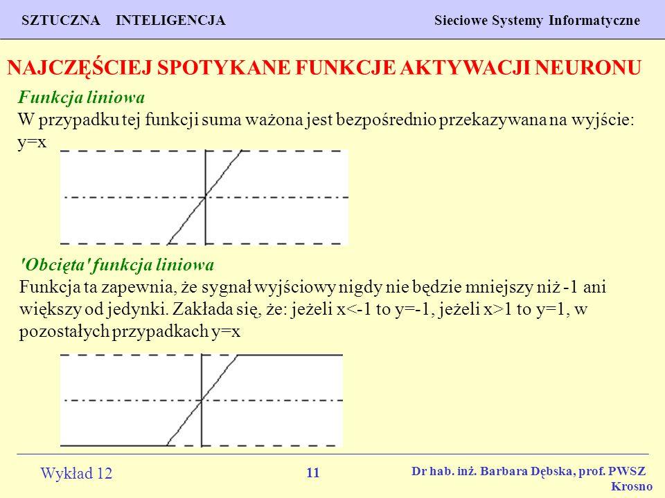 11 Wykład 12 SZTUCZNA INTELIGENCJA Sieciowe Systemy Informatyczne Dr hab. inż. Barbara Dębska, prof. PWSZ Krosno NAJCZĘŚCIEJ SPOTYKANE FUNKCJE AKTYWAC