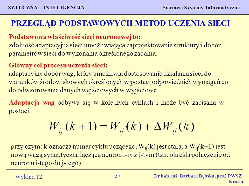 27 Wykład 12 SZTUCZNA INTELIGENCJA Sieciowe Systemy Informatyczne Dr hab. inż. Barbara Dębska, prof. PWSZ Krosno PRZEGLĄD PODSTAWOWYCH METOD UCZENIA S