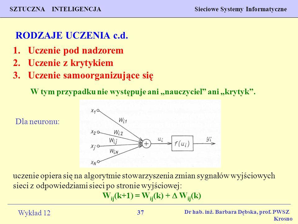 37 Wykład 12 SZTUCZNA INTELIGENCJA Sieciowe Systemy Informatyczne Dr hab. inż. Barbara Dębska, prof. PWSZ Krosno RODZAJE UCZENIA c.d. 2.Uczenie z kryt
