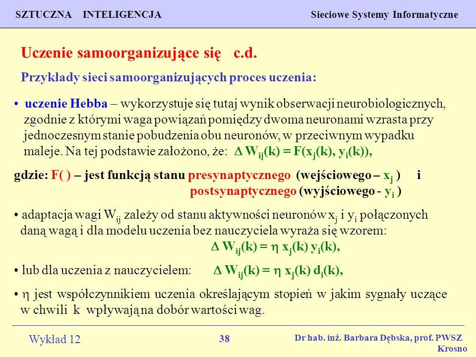 38 Wykład 12 SZTUCZNA INTELIGENCJA Sieciowe Systemy Informatyczne Dr hab. inż. Barbara Dębska, prof. PWSZ Krosno Uczenie samoorganizujące się c.d. Prz
