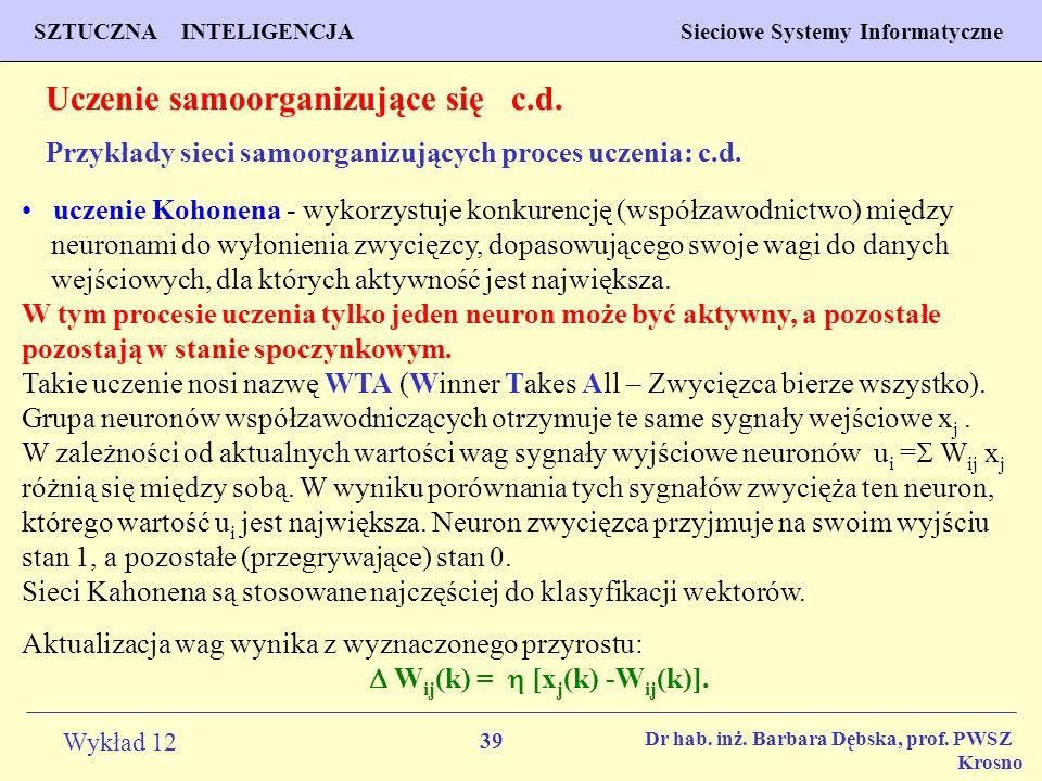 39 Wykład 12 SZTUCZNA INTELIGENCJA Sieciowe Systemy Informatyczne Dr hab. inż. Barbara Dębska, prof. PWSZ Krosno Uczenie samoorganizujące się c.d. Prz