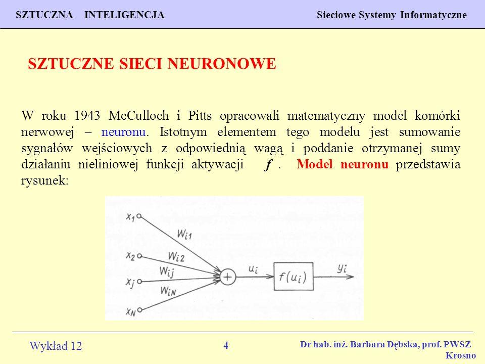 4 Wykład 12 SZTUCZNA INTELIGENCJA Sieciowe Systemy Informatyczne Dr hab. inż. Barbara Dębska, prof. PWSZ Krosno W roku 1943 McCulloch i Pitts opracowa