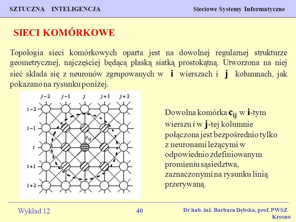 40 Wykład 12 SZTUCZNA INTELIGENCJA Sieciowe Systemy Informatyczne Dr hab. inż. Barbara Dębska, prof. PWSZ Krosno SIECI KOMÓRKOWE Topologia sieci komór