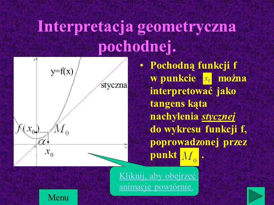 y=f(x) styczna ) Menu