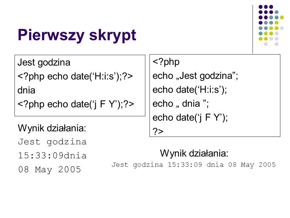 Pierwszy skrypt Jest godzina dnia Wynik działania: Jest godzina 15:33:09dnia 08 May 2005 <?php echo Jest godzina; echo date(H:i:s); echo dnia ; echo d