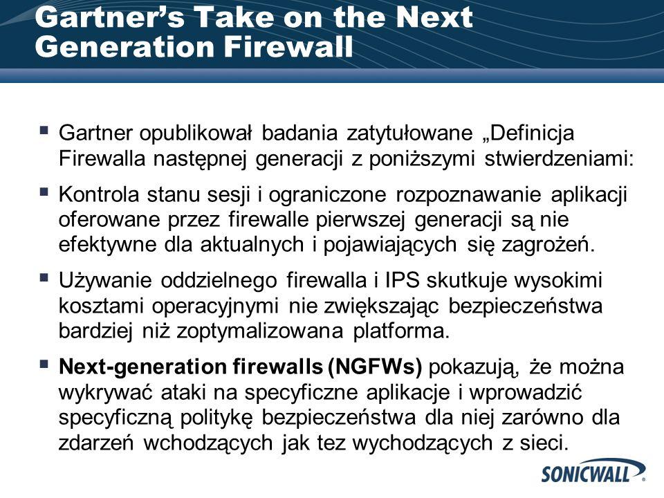 Gartners Take on the Next Generation Firewall Gartner opublikował badania zatytułowane Definicja Firewalla następnej generacji z poniższymi stwierdzeniami: Kontrola stanu sesji i ograniczone rozpoznawanie aplikacji oferowane przez firewalle pierwszej generacji są nie efektywne dla aktualnych i pojawiających się zagrożeń.