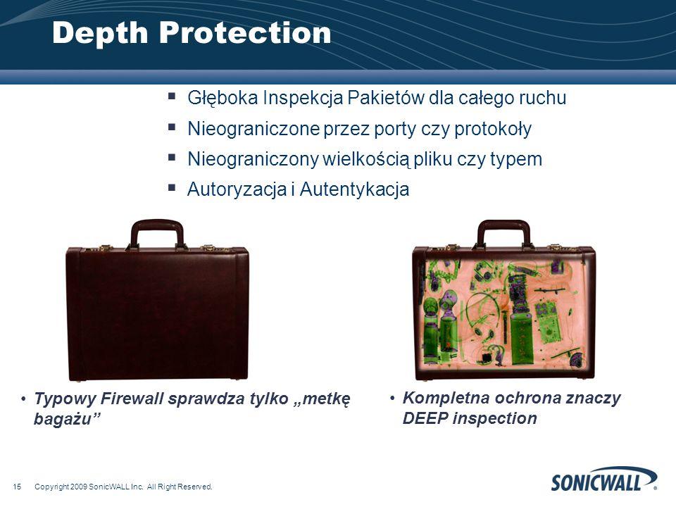 Depth Protection Głęboka Inspekcja Pakietów dla całego ruchu Nieograniczone przez porty czy protokoły Nieograniczony wielkością pliku czy typem Autoryzacja i Autentykacja Typowy Firewall sprawdza tylko metkę bagażu Kompletna ochrona znaczy DEEP inspection Copyright 2009 SonicWALL Inc.