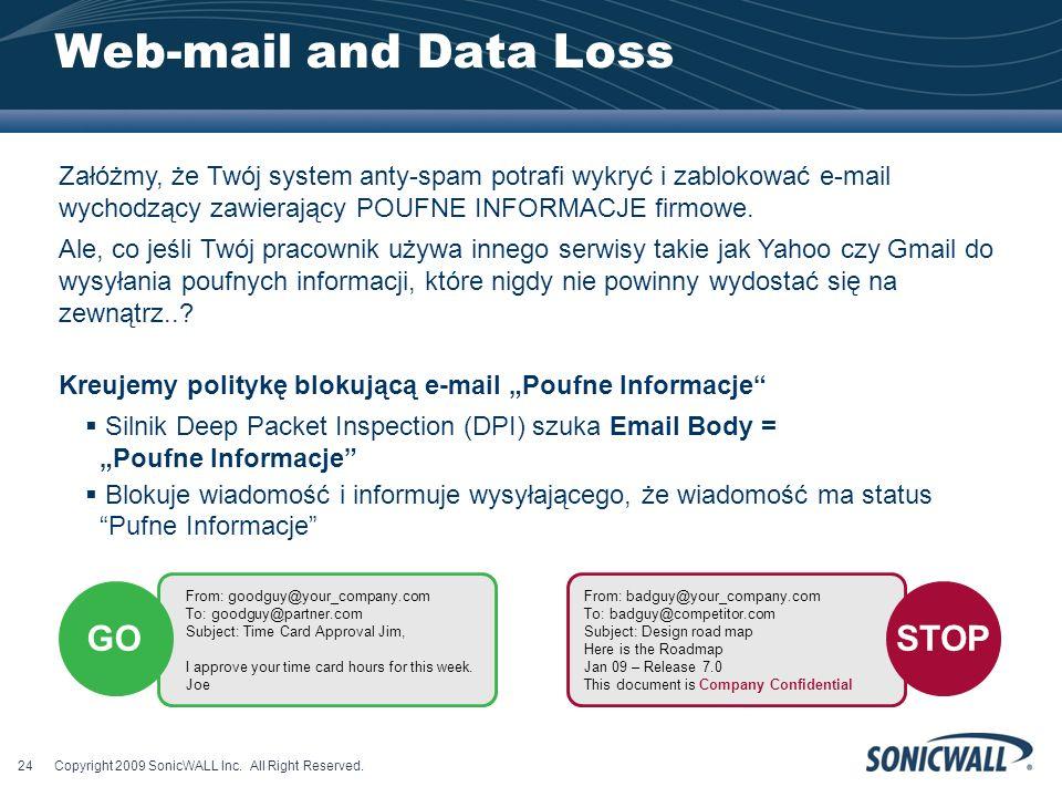 Web-mail and Data Loss Załóżmy, że Twój system anty-spam potrafi wykryć i zablokować e-mail wychodzący zawierający POUFNE INFORMACJE firmowe.