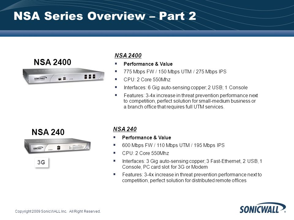 Copyright 2009 SonicWALL Inc. All Right Reserved. NSA Series Overview – Part 2 NSA 2400 Performance & Value 775 Mbps FW / 150 Mbps UTM / 275 Mbps IPS
