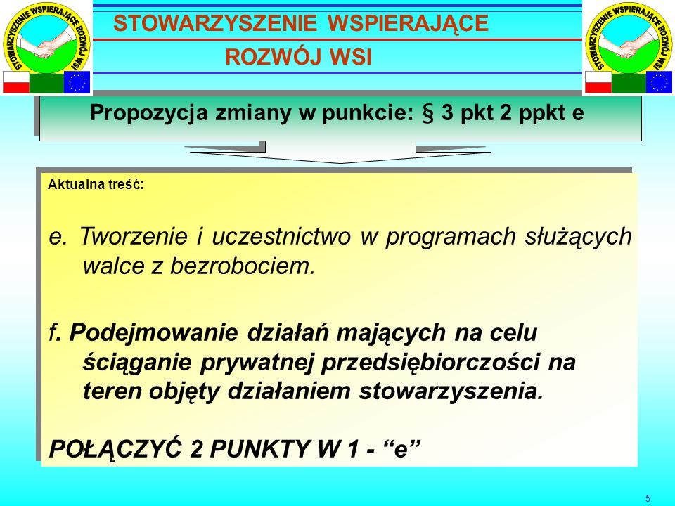 5 Propozycja zmiany w punkcie: § 3 pkt 2 ppkt e Aktualna treść: e.