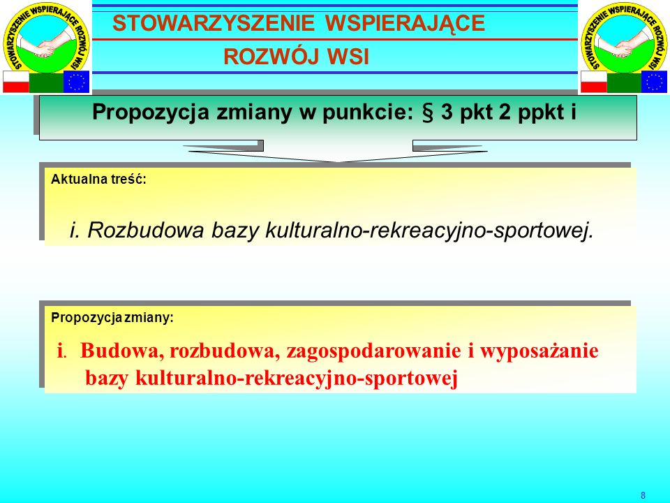 8 Propozycja zmiany w punkcie: § 3 pkt 2 ppkt i Aktualna treść: i.