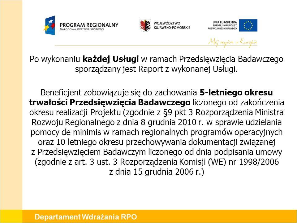 Po wykonaniu każdej Usługi w ramach Przedsięwzięcia Badawczego sporządzany jest Raport z wykonanej Usługi.