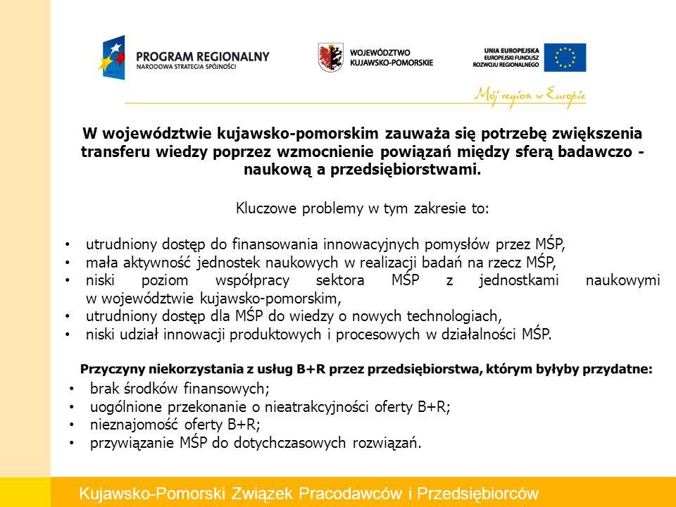 W województwie kujawsko-pomorskim zauważa się potrzebę zwiększenia transferu wiedzy poprzez wzmocnienie powiązań między sferą badawczo - naukową a przedsiębiorstwami.