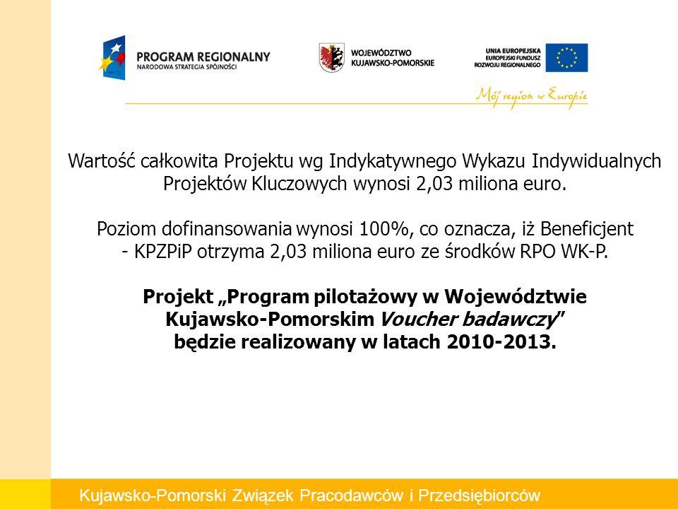 Kujawsko-Pomorski Związek Pracodawców i Przedsiębiorców Wartość całkowita Projektu wg Indykatywnego Wykazu Indywidualnych Projektów Kluczowych wynosi 2,03 miliona euro.
