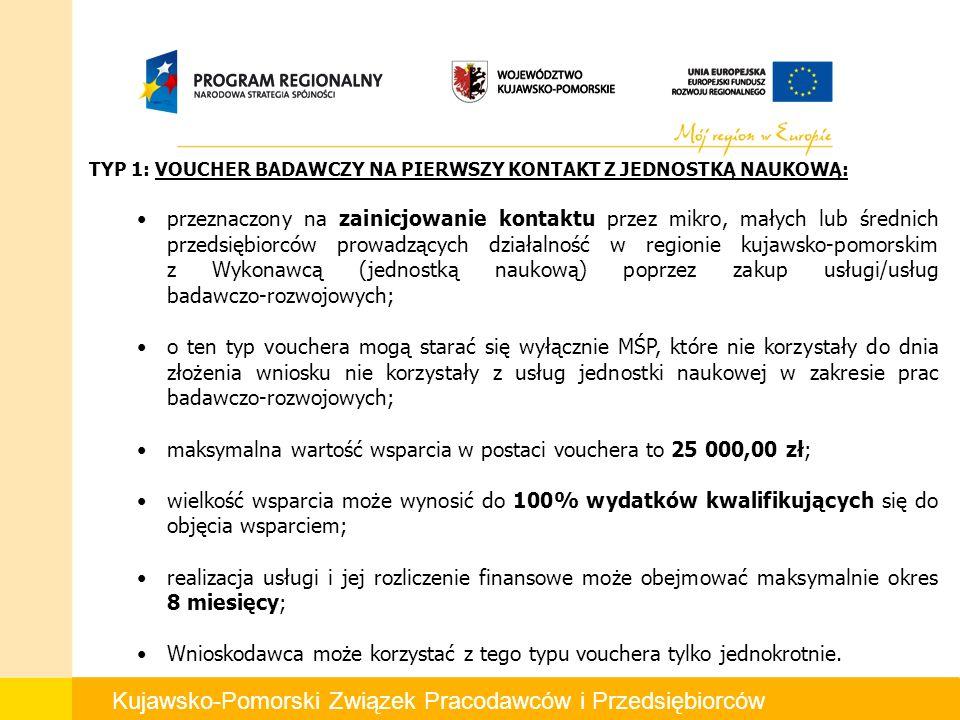 Kujawsko-Pomorski Związek Pracodawców i Przedsiębiorców TYP 1: VOUCHER BADAWCZY NA PIERWSZY KONTAKT Z JEDNOSTKĄ NAUKOWĄ: przeznaczony na zainicjowanie kontaktu przez mikro, małych lub średnich przedsiębiorców prowadzących działalność w regionie kujawsko-pomorskim z Wykonawcą (jednostką naukową) poprzez zakup usługi/usług badawczo-rozwojowych; o ten typ vouchera mogą starać się wyłącznie MŚP, które nie korzystały do dnia złożenia wniosku nie korzystały z usług jednostki naukowej w zakresie prac badawczo-rozwojowych; maksymalna wartość wsparcia w postaci vouchera to 25 000,00 zł; wielkość wsparcia może wynosić do 100% wydatków kwalifikujących się do objęcia wsparciem; realizacja usługi i jej rozliczenie finansowe może obejmować maksymalnie okres 8 miesięcy; Wnioskodawca może korzystać z tego typu vouchera tylko jednokrotnie.
