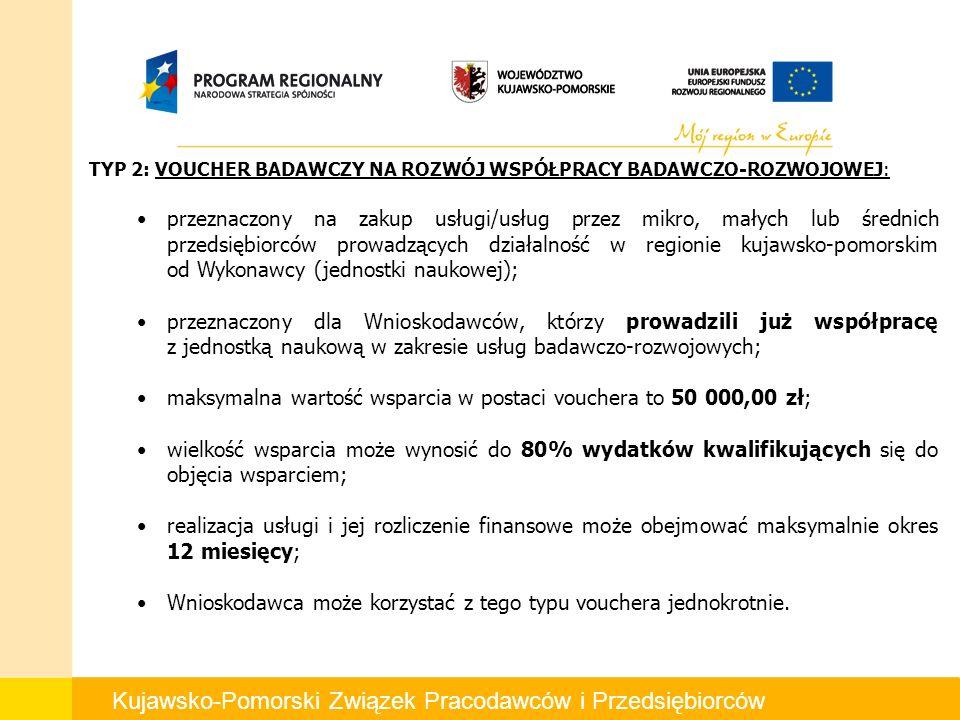 Kujawsko-Pomorski Związek Pracodawców i Przedsiębiorców TYP 2: VOUCHER BADAWCZY NA ROZWÓJ WSPÓŁPRACY BADAWCZO-ROZWOJOWEJ: przeznaczony na zakup usługi/usług przez mikro, małych lub średnich przedsiębiorców prowadzących działalność w regionie kujawsko-pomorskim od Wykonawcy (jednostki naukowej); przeznaczony dla Wnioskodawców, którzy prowadzili już współpracę z jednostką naukową w zakresie usług badawczo-rozwojowych; maksymalna wartość wsparcia w postaci vouchera to 50 000,00 zł; wielkość wsparcia może wynosić do 80% wydatków kwalifikujących się do objęcia wsparciem; realizacja usługi i jej rozliczenie finansowe może obejmować maksymalnie okres 12 miesięcy; Wnioskodawca może korzystać z tego typu vouchera jednokrotnie.