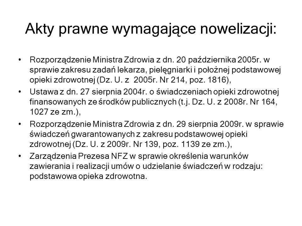 Akty prawne wymagające nowelizacji : Rozporządzenie Ministra Zdrowia z dn. 20 października 2005r. w sprawie zakresu zadań lekarza, pielęgniarki i poło