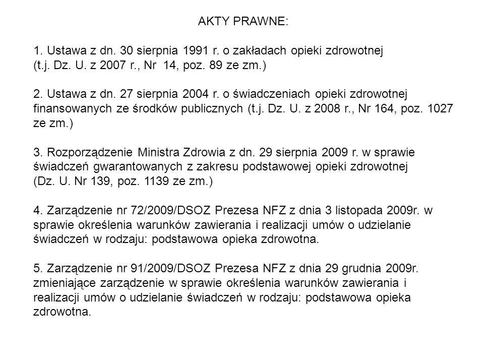 AKTY PRAWNE: 1. Ustawa z dn. 30 sierpnia 1991 r. o zakładach opieki zdrowotnej (t.j. Dz. U. z 2007 r., Nr 14, poz. 89 ze zm.) 2. Ustawa z dn. 27 sierp