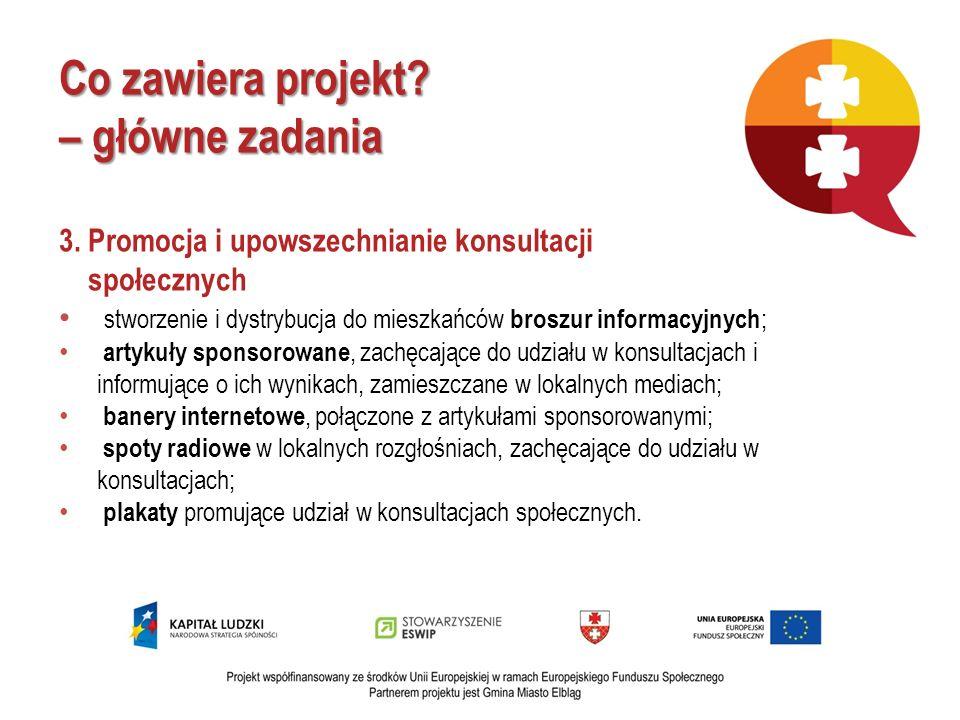 Co zawiera projekt? – główne zadania 3. Promocja i upowszechnianie konsultacji społecznych stworzenie i dystrybucja do mieszkańców broszur informacyjn