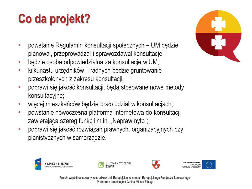Co da projekt? powstanie Regulamin konsultacji społecznych – UM będzie planował, przeprowadzał i sprawozdawał konsultacje; będzie osoba odpowiedzialna