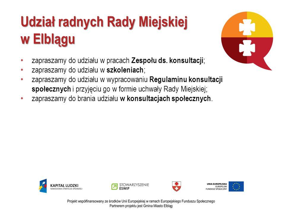 Udział radnych Rady Miejskiej w Elblągu zapraszamy do udziału w pracach Zespołu ds. konsultacji ; zapraszamy do udziału w szkoleniach ; zapraszamy do