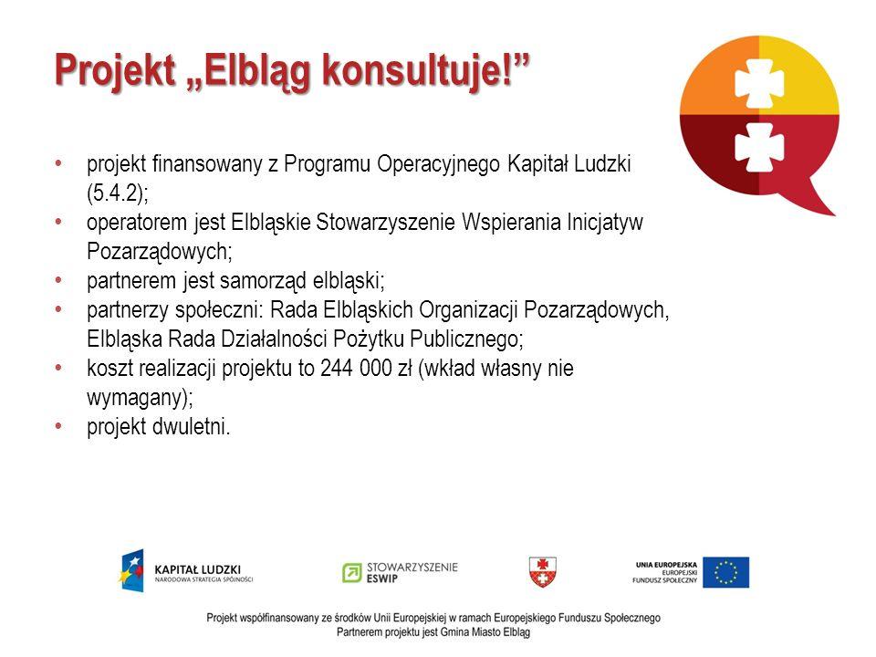 Projekt Elbląg konsultuje! projekt finansowany z Programu Operacyjnego Kapitał Ludzki (5.4.2); operatorem jest Elbląskie Stowarzyszenie Wspierania Ini