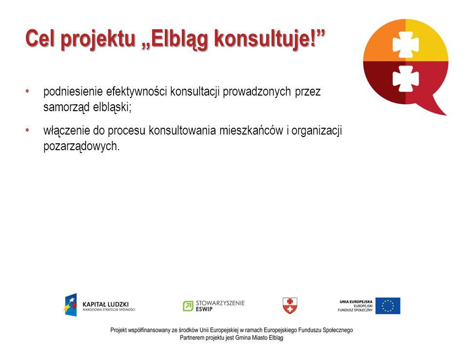 Cel projektu Elbląg konsultuje! podniesienie efektywności konsultacji prowadzonych przez samorząd elbląski; włączenie do procesu konsultowania mieszka