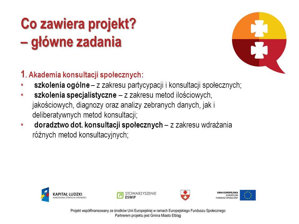 Co zawiera projekt? – główne zadania 1. Akademia konsultacji społecznych: szkolenia ogólne – z zakresu partycypacji i konsultacji społecznych; szkolen