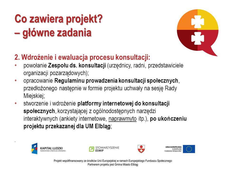 Co zawiera projekt? – główne zadania 2. Wdrożenie i ewaluacja procesu konsultacji: powołanie Zespołu ds. konsultacji (urzędnicy, radni, przedstawiciel