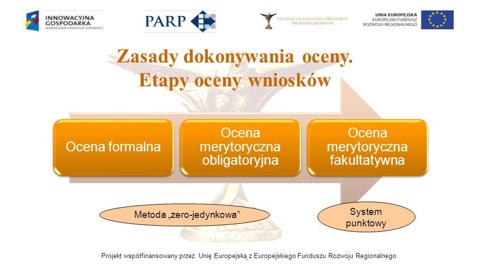 Projekt współfinansowany przez Unię Europejską z Europejskiego Funduszu Rozwoju Regionalnego Zasady dokonywania oceny. Etapy oceny wniosków Ocena form