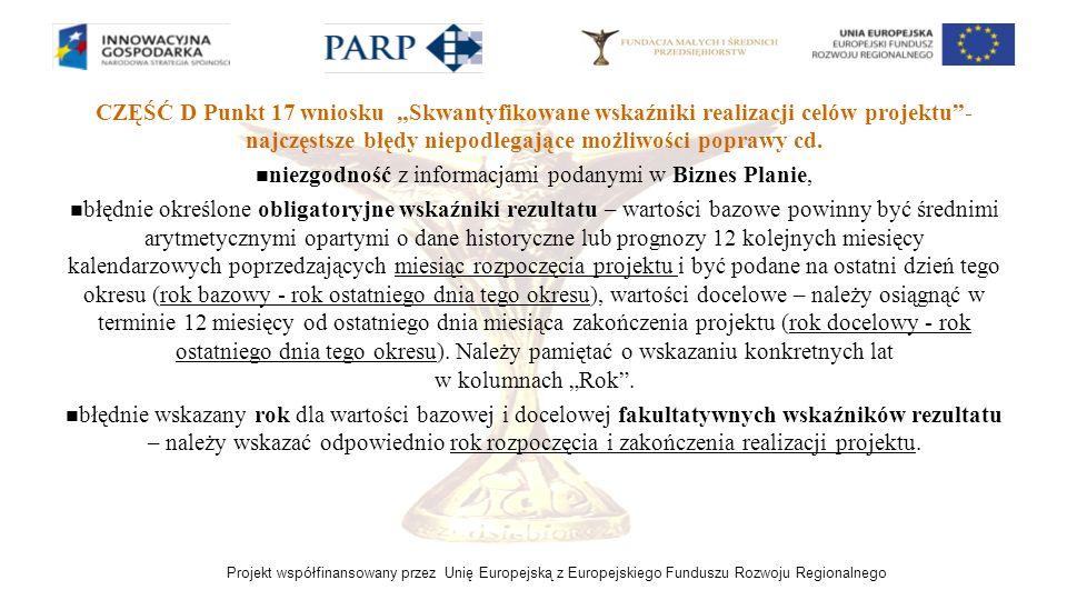 Projekt współfinansowany przez Unię Europejską z Europejskiego Funduszu Rozwoju Regionalnego CZĘŚĆ D Punkt 17 wniosku Skwantyfikowane wskaźniki realiz