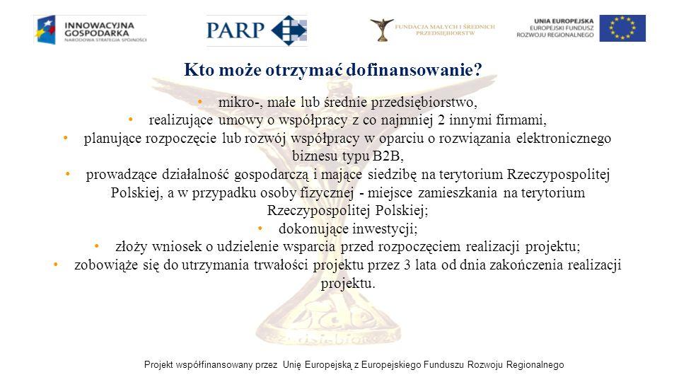 Projekt współfinansowany przez Unię Europejską z Europejskiego Funduszu Rozwoju Regionalnego mikro-, małe lub średnie przedsiębiorstwo, realizujące um