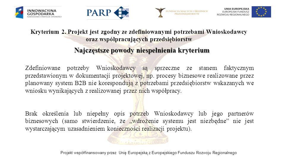 Projekt współfinansowany przez Unię Europejską z Europejskiego Funduszu Rozwoju Regionalnego Kryterium 2. Projekt jest zgodny ze zdefiniowanymi potrze