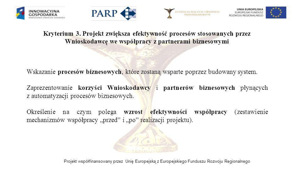 Projekt współfinansowany przez Unię Europejską z Europejskiego Funduszu Rozwoju Regionalnego Kryterium 3. Projekt zwiększa efektywność procesów stosow