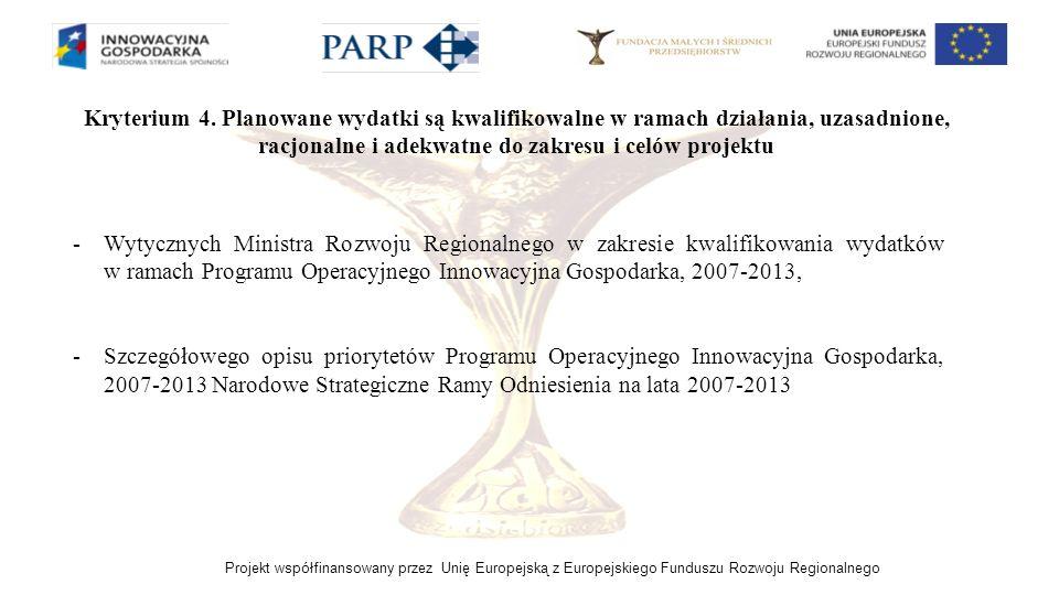 Projekt współfinansowany przez Unię Europejską z Europejskiego Funduszu Rozwoju Regionalnego Kryterium 4. Planowane wydatki są kwalifikowalne w ramach