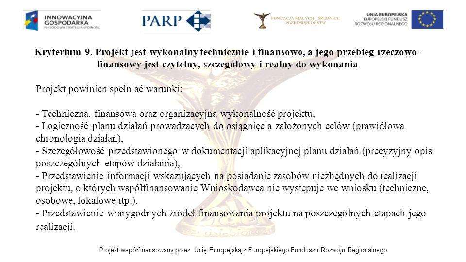 Projekt współfinansowany przez Unię Europejską z Europejskiego Funduszu Rozwoju Regionalnego Kryterium 9. Projekt jest wykonalny technicznie i finanso