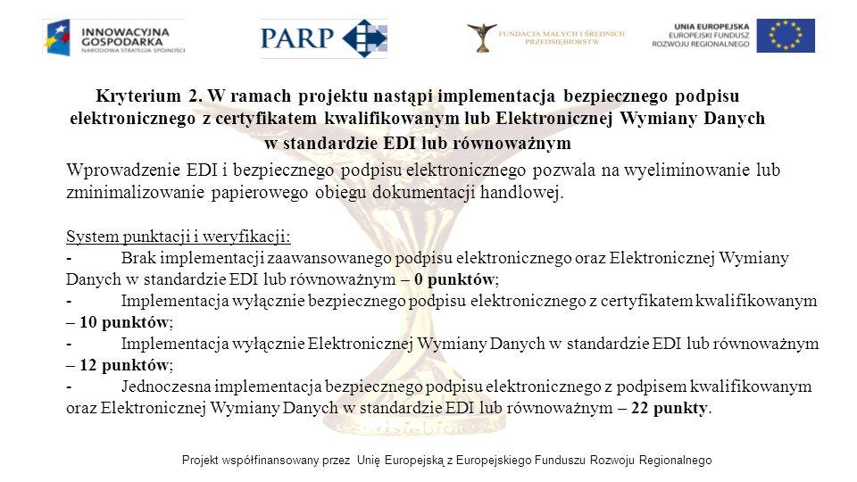 Projekt współfinansowany przez Unię Europejską z Europejskiego Funduszu Rozwoju Regionalnego Kryterium 2. W ramach projektu nastąpi implementacja bezp