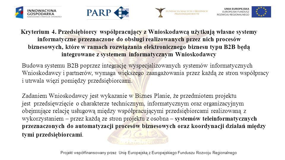 Projekt współfinansowany przez Unię Europejską z Europejskiego Funduszu Rozwoju Regionalnego Kryterium 4. Przedsiębiorcy współpracujący z Wnioskodawcą