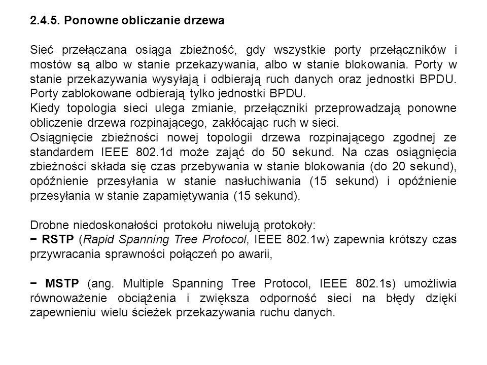 2.4.5. Ponowne obliczanie drzewa Sieć przełączana osiąga zbieżność, gdy wszystkie porty przełączników i mostów są albo w stanie przekazywania, albo w