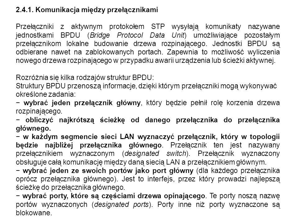 2.4.1. Komunikacja między przełącznikami Przełączniki z aktywnym protokołem STP wysyłają komunikaty nazywane jednostkami BPDU (Bridge Protocol Data Un